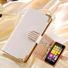 Bling Buckle PU Leather Case For Nokia Lumia 530 Luxury Wallet Flip Rhinestone Daimond Cell Phone Cover With Card Slot
