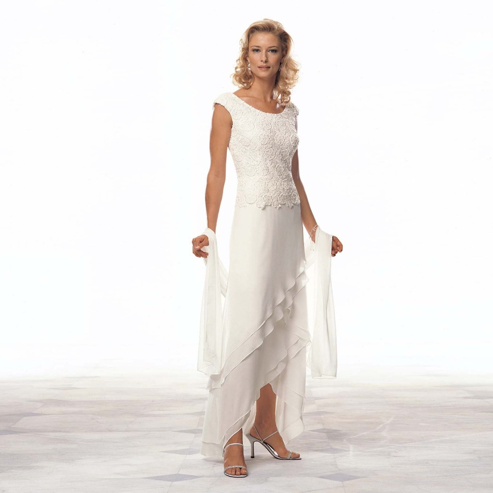 Elegant long formal evening asymmetry prom bridal gown for Wedding mother of the bride dresses