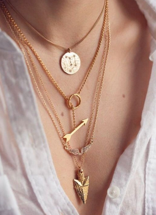 Fashion ladies chains and necklaces Cheap Gold Multi Layer Necklace Sexy Circular Arrow Angel Wing Maxi Pendant Necklace A225G(China (Mainland))