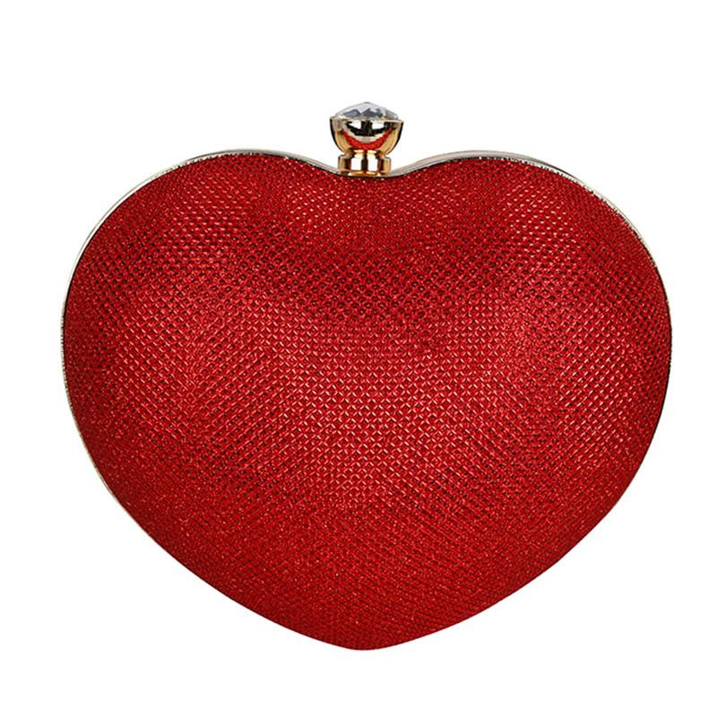 2015 Women Heart Shape Clutch Gold Chain Evening Bag Bridal Wedding Dinner Party Purses Shoulder Bag Black bolsas mujer XA928C