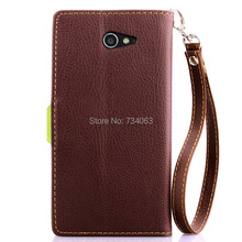 Flip Wallet Book Style PU Leather Case Cover for Sony Xperia M2 dual D2302 D2303 S50h