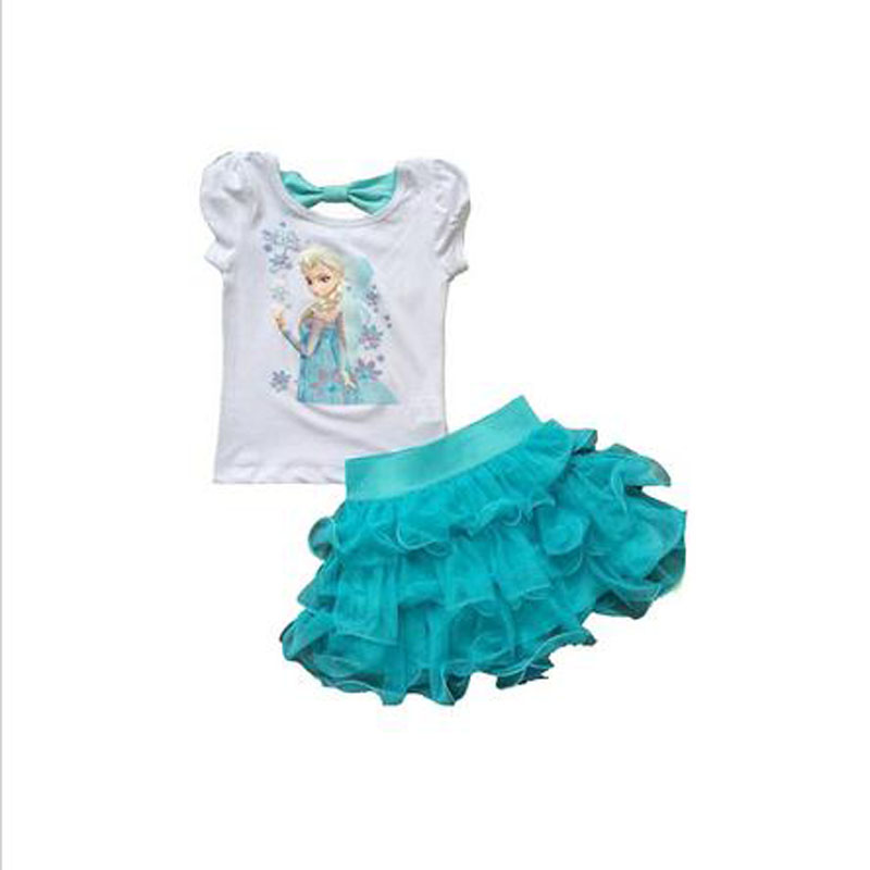 2016 New Girls Princess Dress + T shirt 2 Pcs Set 2-8 Age Layered Tutu Dress Sets Clothing Sets(China (Mainland))