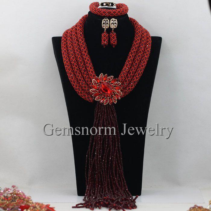 Luxury Burgundy Wine Nigerian Wedding African Beads Jewelry Set Dubai Fashion Women Jewelry Accessories Set Free Shipping WB906