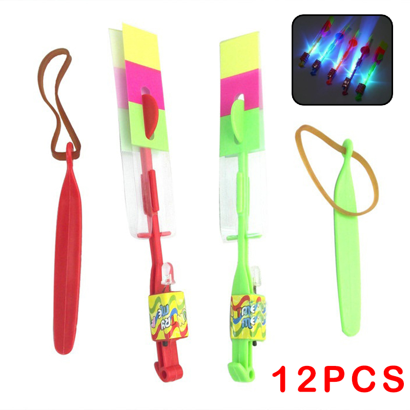 12pc Arrow Flying Helicopter Spin Disk LED Light Kids Children Amazing Novelty Elastic Outdoor Toy -50(China (Mainland))