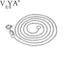 Настоящее Стерлингового Серебра 925 ожерелье для женщин 1 ММ мяч цепи Изысканные старинные Ювелирные Изделия высокого качества Оптовая бесплатная доставка GLN007(China (Mainland))