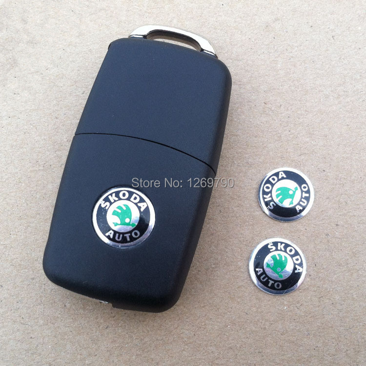 2pcs/lot 14mm Aluminum Skoda car Remote key fob logo emblem sticker Auto key Shell badge Accessories(China (Mainland))