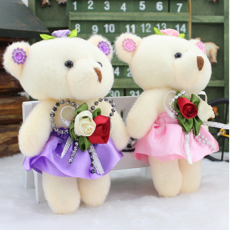 promotion 12 pcs/lot lovely bears toys for bouquet high quality soft stuffed toys mini teddy bears dolls Valentine's day gifts(China (Mainland))