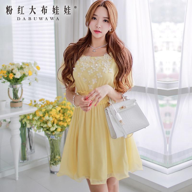 Pink Doll Dress spring new spring and summer 2015 women's waist big swing short sleeved Chiffon Dress