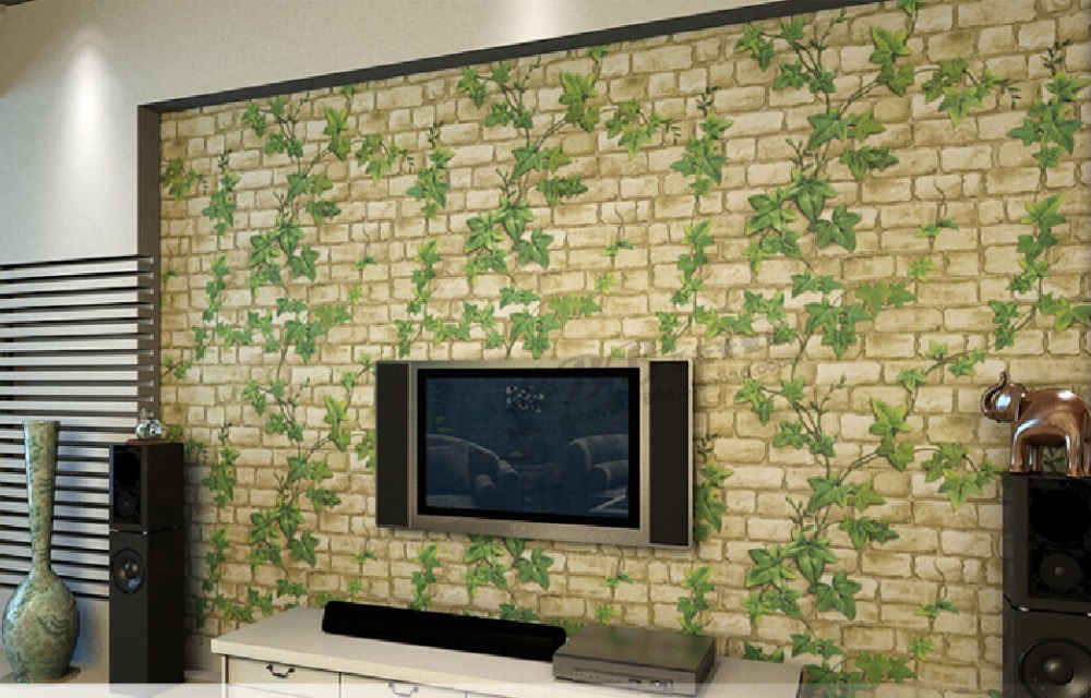 2015 new 3d self adhesive wallpaper leaf stone brick - 3d house wallpaper design ...