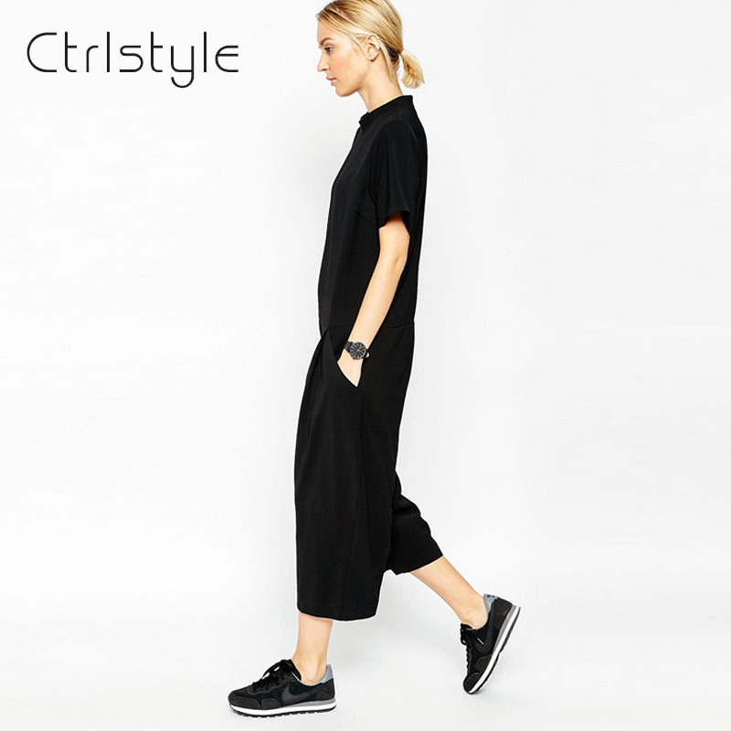 Ctrlstyle Fashion Brand Women Clothing 2016 New Summer Rompers Womens Jumpsuit High Quality Feminino Loose Black Jumpsuits Одежда и ак�е��уары<br><br><br>Aliexpress