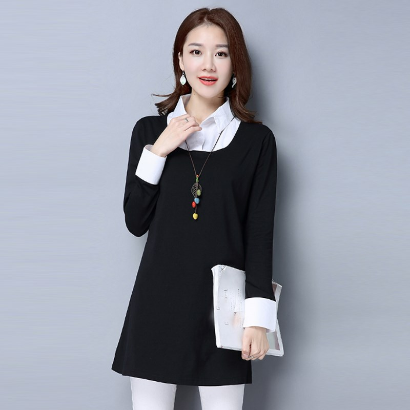 2017 Spring Women Ladies Dress Style Polo Collar Plaid One-piece Dress Plus Sizes S-4XL Casual Work Formal Dresses(China (Mainland))