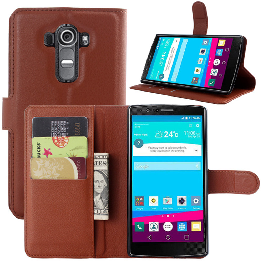 G4 Case Lychee Print PU Leather Case For LG G4 Case Flip Stand Wallet Phone Shell Back Cover With Card Holder(China (Mainland))