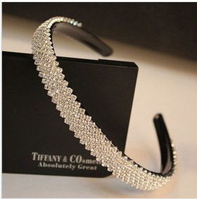 Free Shipping Hot Sale Luxury Full Rhinestone Non-Slip Hairbands For Women Fashion Hair Jewelry Accessories Boutique Headwear(China (Mainland))