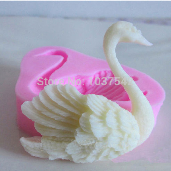 A14 Food-grade Silicone Mold 3D swan Fondant Cake Decorating Tools Silicone Soap Mold Silicone Cake Mold Free Shipping IB042 P(China (Mainland))