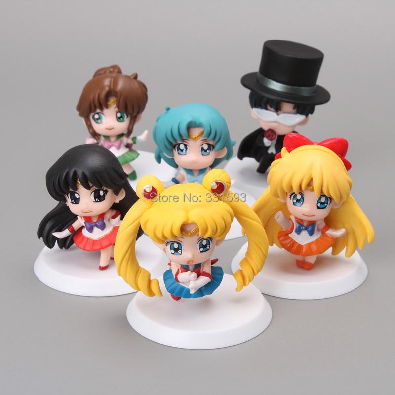 Free Shipping Anime Cartoon Sailor Moon Mars Jupiter Venus Mercury Q Version PVC Action Figure Model Toys Dolls 6pcs/set SMFG010(China (Mainland))