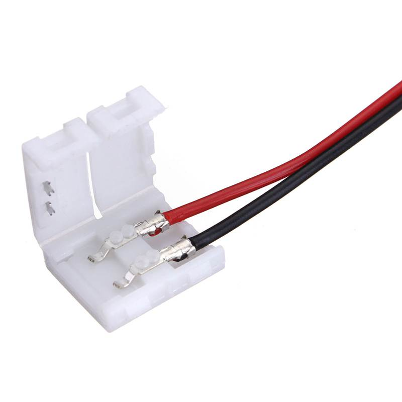Best Price 10PCS Wire With 2 Pin Connector Adapter At 1 End For 10mm 3528 5050 Single Color LED Strip Light Solderless(China (Mainland))