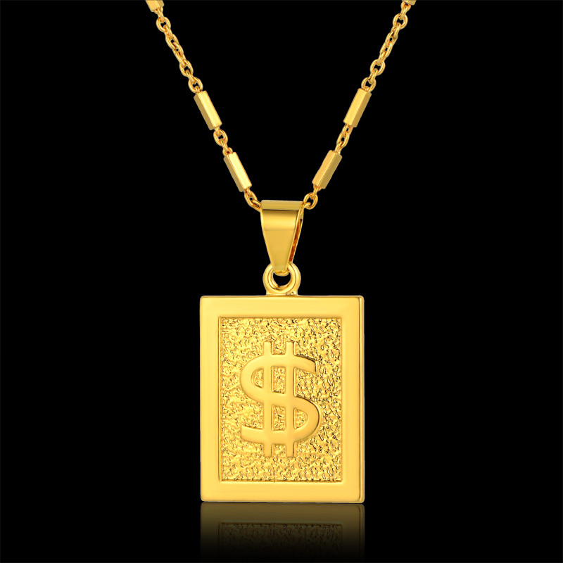 Wholesale Gold Dollar Chain Bling Dollar Sign Necklace Square Pendant Necklace Hiphop Men Jewelry Cheap Fashion(China (Mainland))