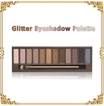 New 12 Full Colors glitter Eyeshadow Cosmetics Mineral Make Up Professional Makeup Eye Shadow Palette Kit as gift free NK1(China (Mainland))