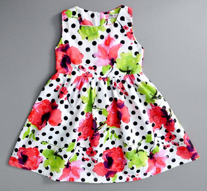 Girls dress Wholesale 2015 fashion Toddler girl dress cotton party children clothing new designer vestido roupas infantis menina(China (Mainland))