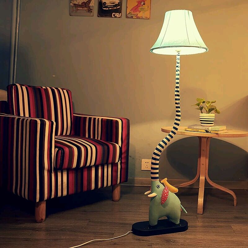 Cottage Floor Lamp Cartoon Bedroom Lights Child Real Rustic Fabric Led Lamp I
