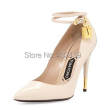 Free shipping 2014 New hot popular  black patent leather  gold lock high heel womens pumps shoes