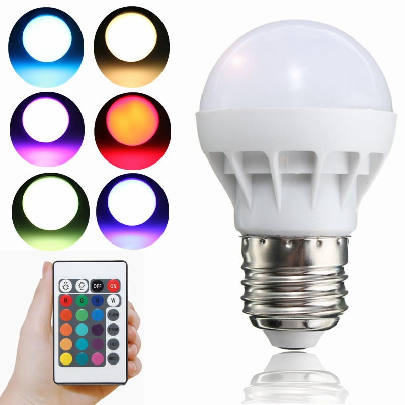 LED RGB Bulb Lamp E27 AC85-265V 3W LED RGB Spot Light Magic Blubs Holiday RGB lighting+IR Remote Control 16 Color Festival Light(China (Mainland))