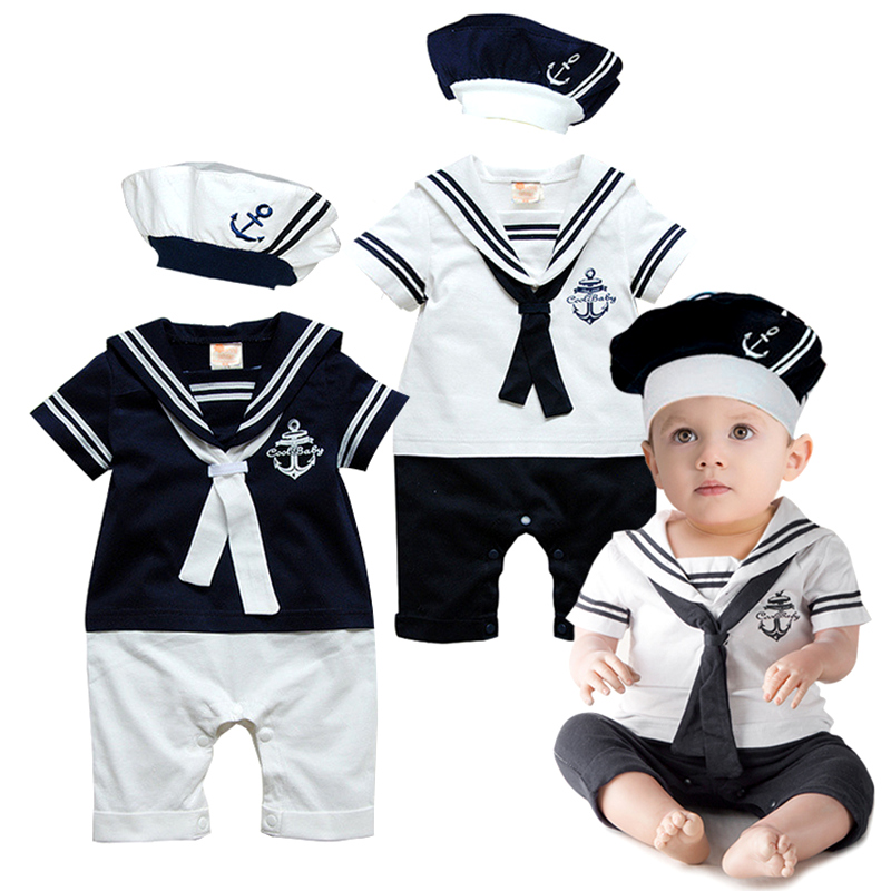 2016 Summer Newborn Baby Rompers Suit High Quality Kids Boys Girls Romper+Hat Navy Style Cotton Short-sleeve Sailor Body Suits(China (Mainland))