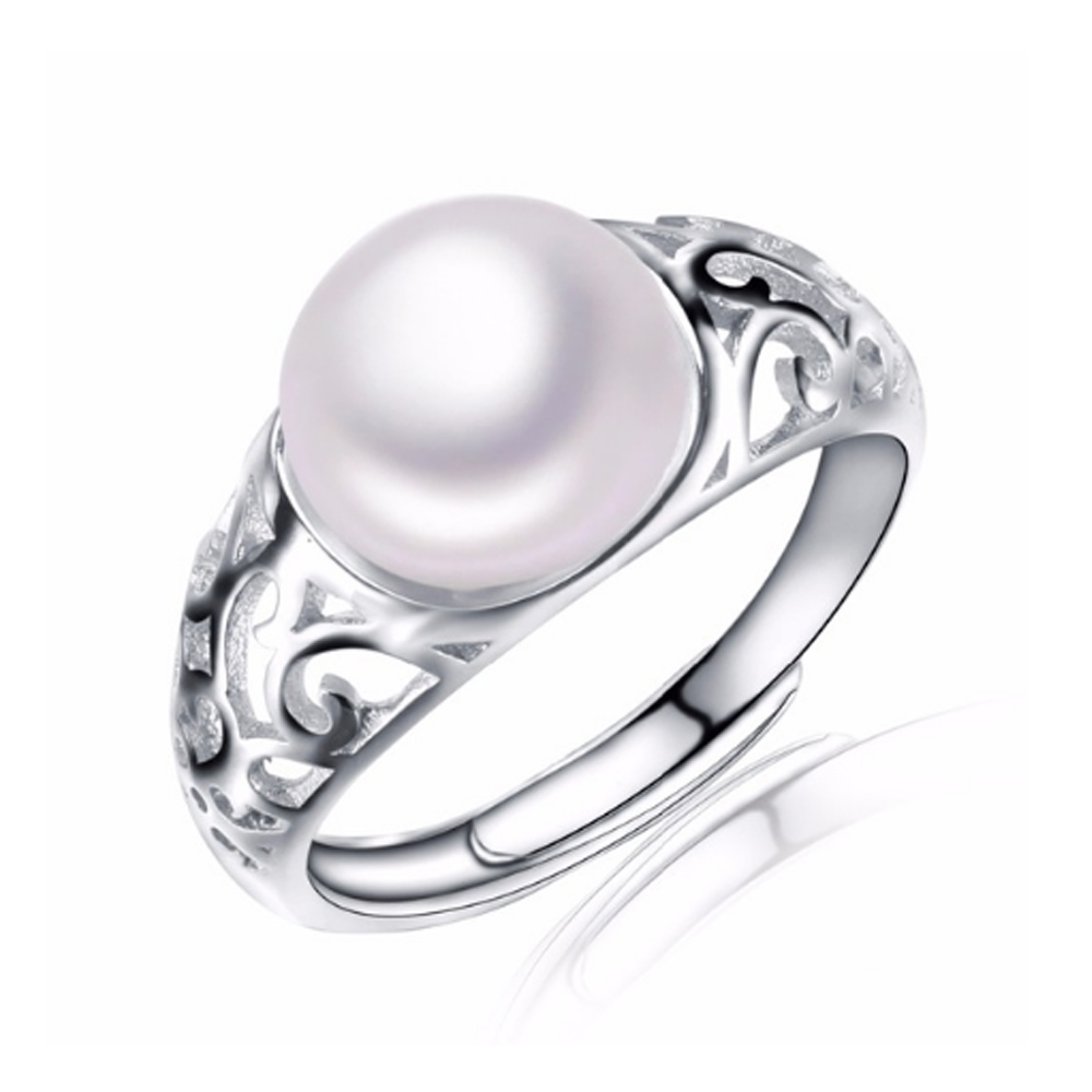IDo natural pearl jewelry 100% genuine freshwater pearl ring for women simple&elegant gold plated ring with gift box(China (Mainland))