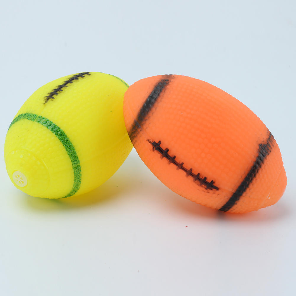 2Pcs Dog Squeaky Toy for Pet Dog Chew Toy Small Rubber Squeaky Rugby Ball Orange PS00544 S03(China (Mainland))