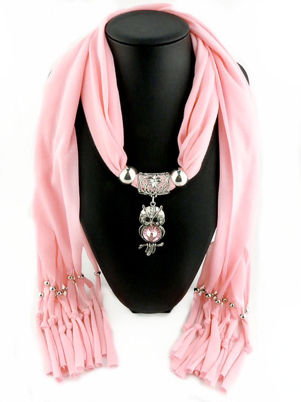 New Charms winter Scarf Necklaces tassel bead Vintage Owl Pendant scarf Necklaces Women Scarf Necklaces Jewelry Wholesale Bijoux