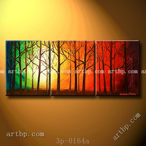 the heavenly woods oil painting on canvas art wall decoration 3 panel 3 pcs set wall art. Black Bedroom Furniture Sets. Home Design Ideas