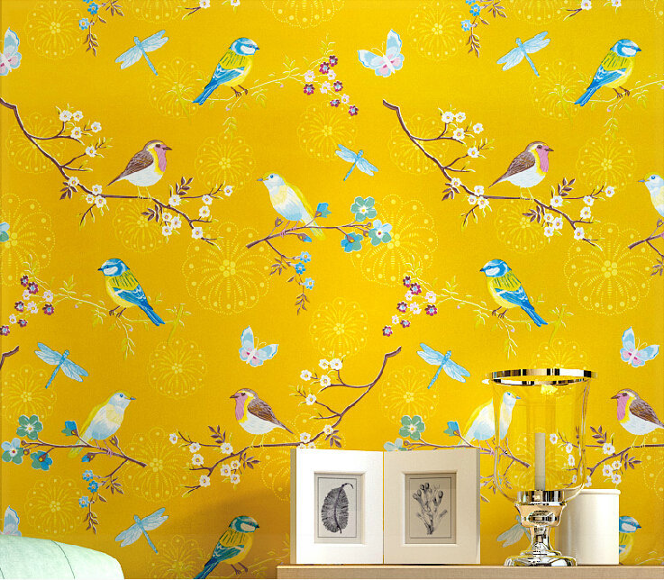 American country bright yellow bird bedroom study the television background wall pure paper wallpaper 3d wall panels modern cell(China (Mainland))
