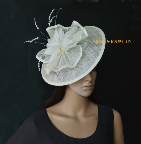 Big sinamay fascinator Hat with feathers.cream ivory colour.(China (Mainland))