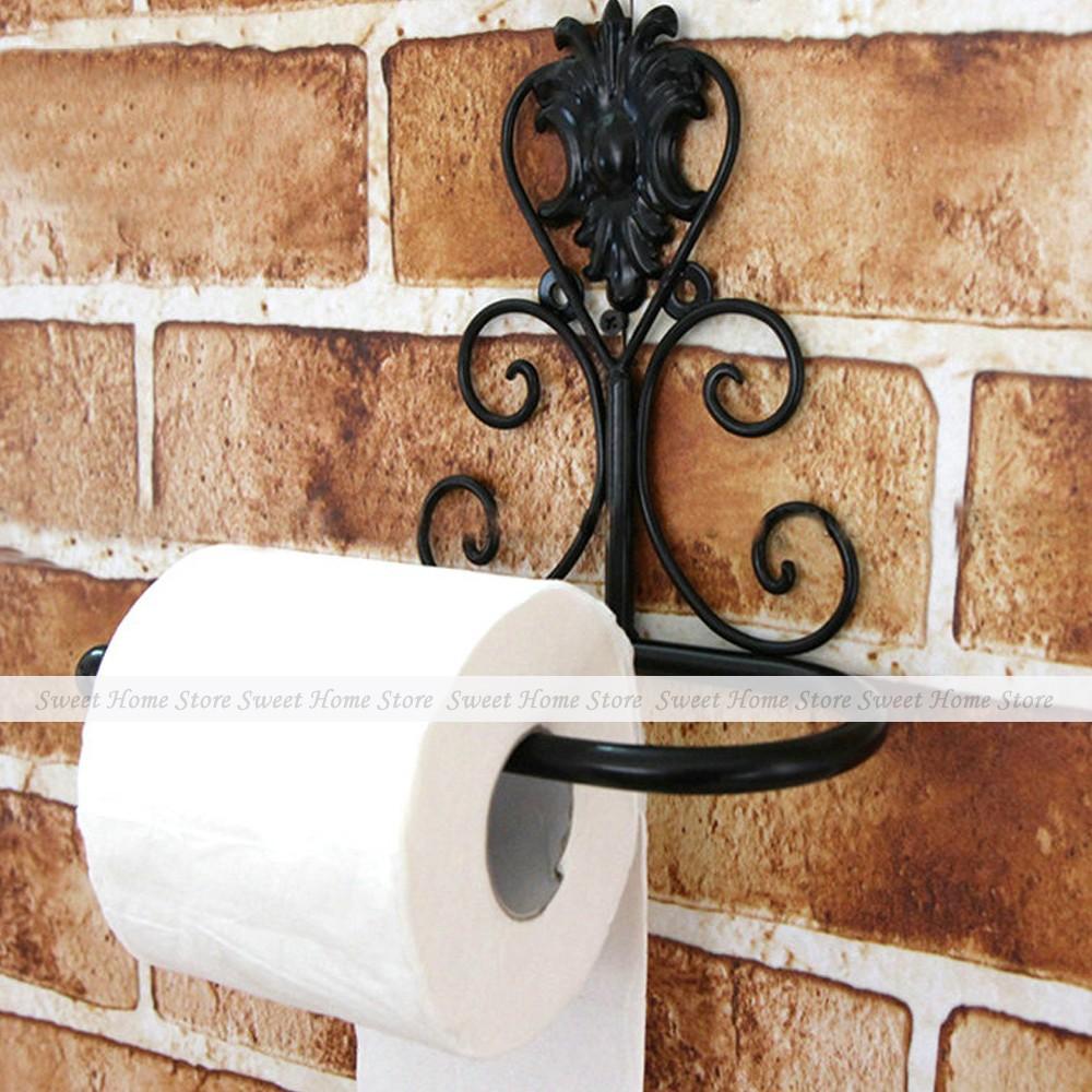 Vintage Black Iron Toilet Paper Towel Roll Holder Bathroom Wall Mounted Rack Christmas Decor(China (Mainland))