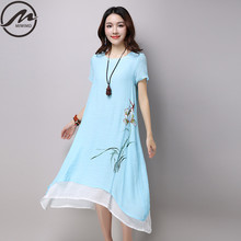 Buy MIWIMD Plus Size Women Summer Dresses 2017 New Fashion Casual Print short sleeve Loose Cotton Linen Double layer Long Dress for $16.78 in AliExpress store