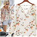Yifan New Fashion Summer Women Blouses Plus Size Casual Long Sleeve Tops Shirt Floral Prited Loose