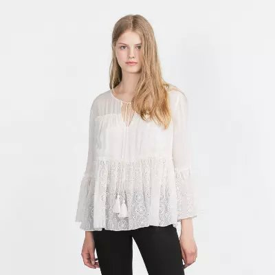 Lush Pintuck And Lace Blouse 91