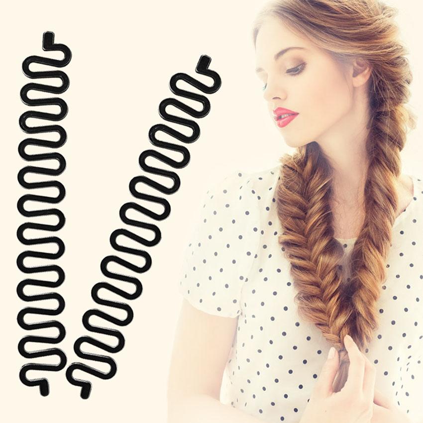 2 Pcs Women Lady Hair Braiding Accessories Braider Roller Hook Magic Hair Twist Styling Bun Maker Hair Band