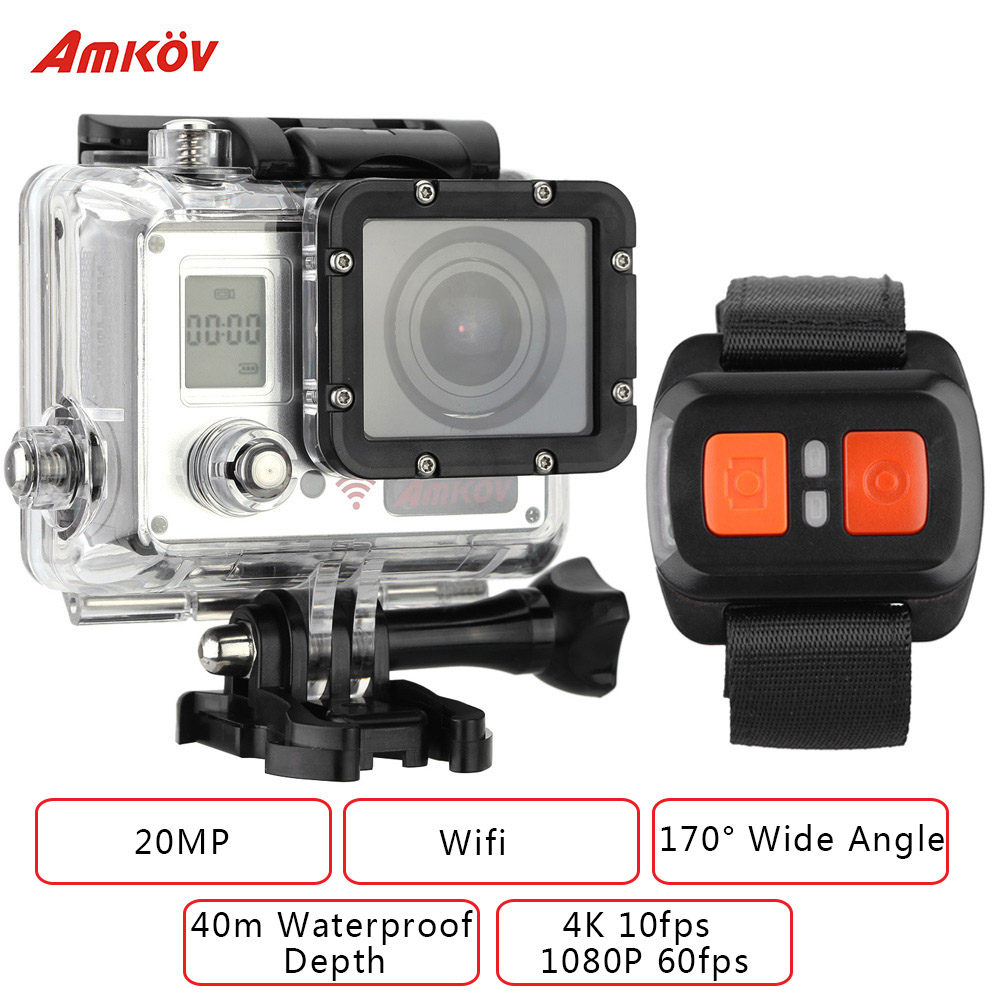 AMKOV AMK7000S Wifi Action Camera 1080P 60fps 4K 20MP 2.0 in LCD Waterproof 40m 170 Wide Angle Car DVR with Remote Control Watch(China (Mainland))