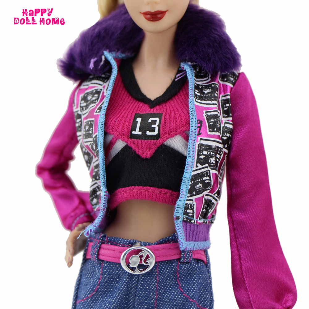 Winter Style Outfit Road Snap Costume Fur Collar Coat Jacket Belt Denims Bag Sneakers Garments For Barbie FR Doll Play Home Toy