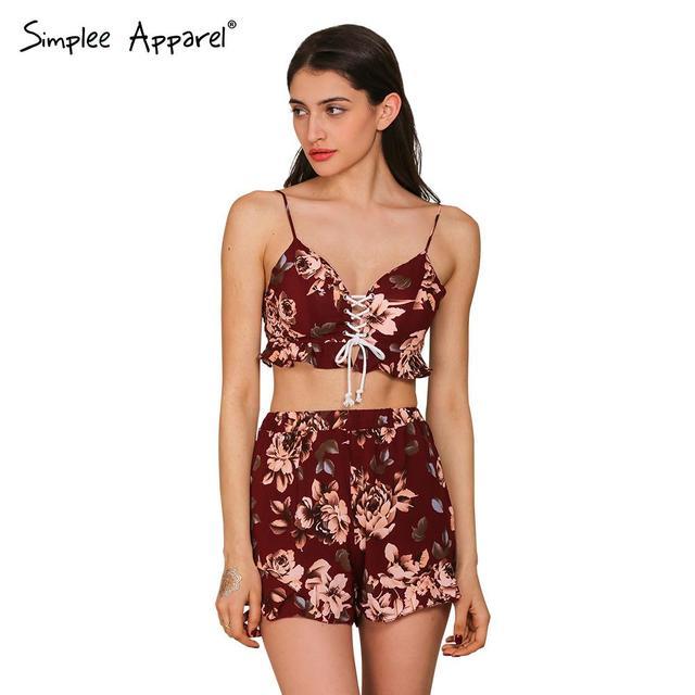 Simplee Одежда две пьесы набор цветочный печати женщины комбинезон ползунки Лето ...