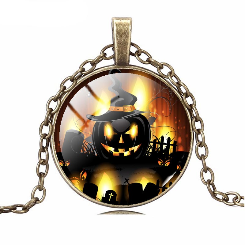 Halloween Gifts 2016 New Fashion 3D Picture Halloween Pumpkins Necklace&Pendants Glass Bronze Collares For Lovers' GG0013-GG0018(China (Mainland))