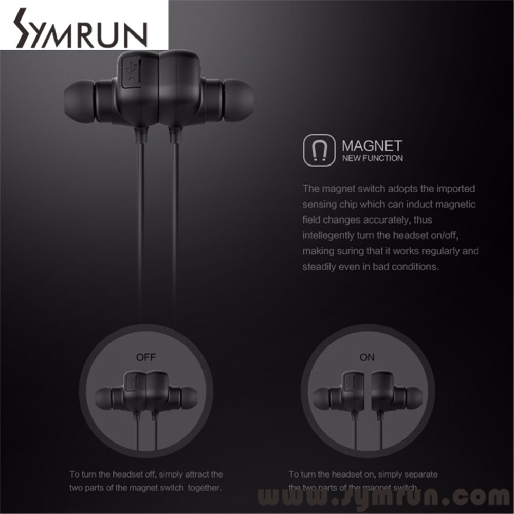 Symrun Best Smart Symrun Qy12 Magnet Catche Sport Bluetooth 4.1 Wireless Earphone Stereo bluetooth headphone qy12 qcy(China (Mainland))