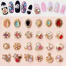 [7] Manicure jewelry collection Gold Gemstone five flower jewels Manicure metal diamond stars(China (Mainland))