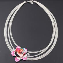 Bonsny red flower chain necklace for girls pendant lovely cute style new 2016 spring/summer design woman man jewelry fashion(China (Mainland))