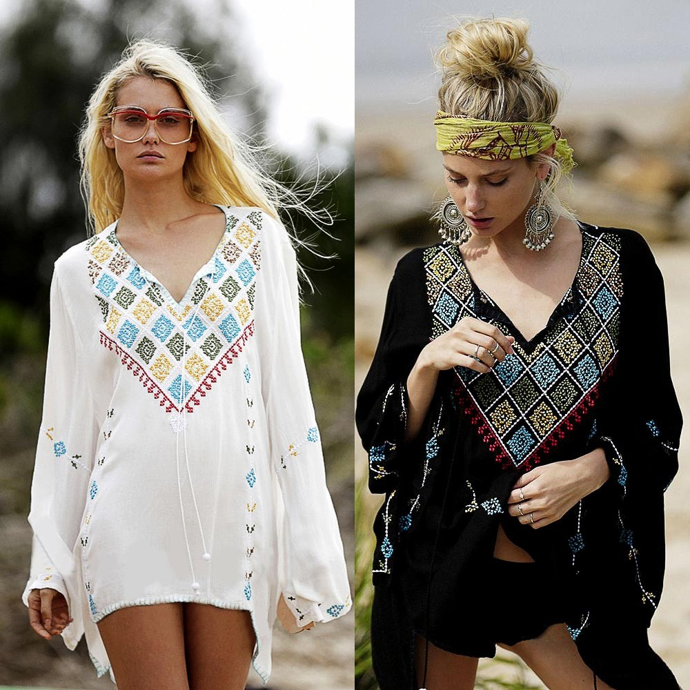 women blouses tops 2016 Summer/Autumn Sexy Long Sleeve Vintage Embroidery boho hippie chic blusas feminino blouse brand clothing(China (Mainland))