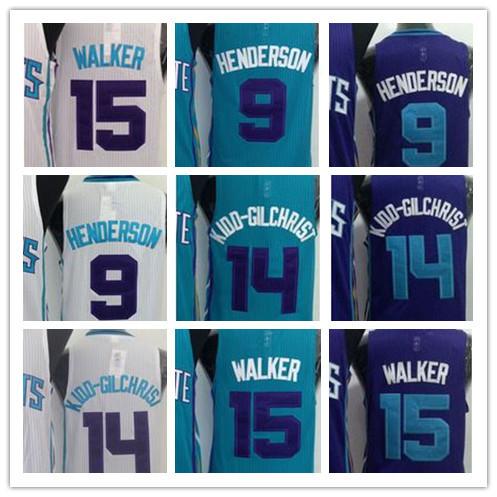 Hot Sale Newest Charlotte Hornets 9 Gerald Henderson 14 Michael Kidd-Gilchrist 15 Kemba Walker Basketball Jersey Embroidery Logo(China (Mainland))