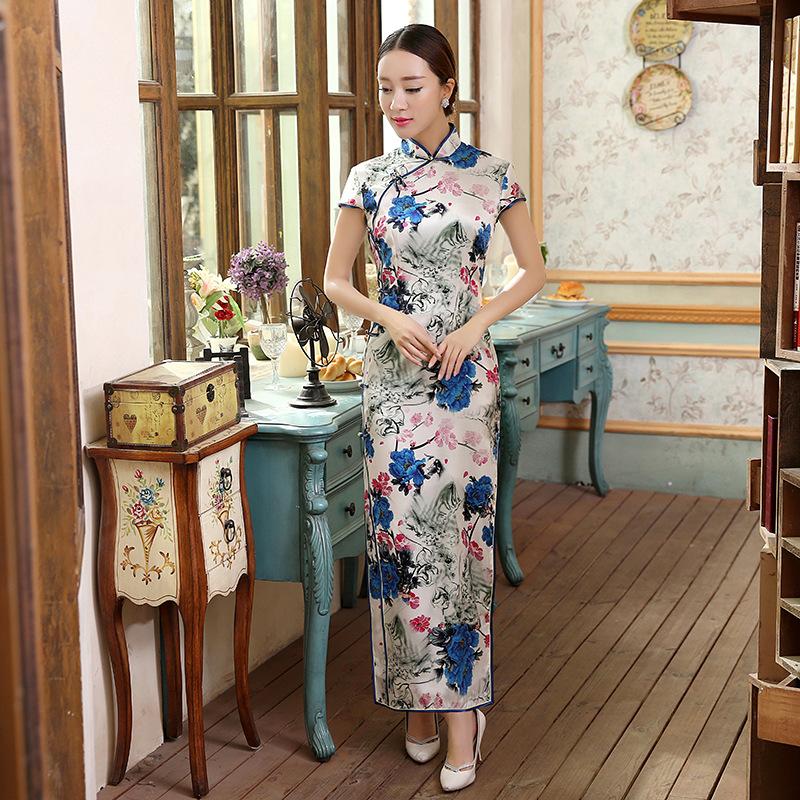 Primavera nueva llegada Noble mujeres de largo del Cheongsam caliente venta tradicional China señora vestido del Qipao de seda tamaño sml XL XXL CZ0012(China (Mainland))