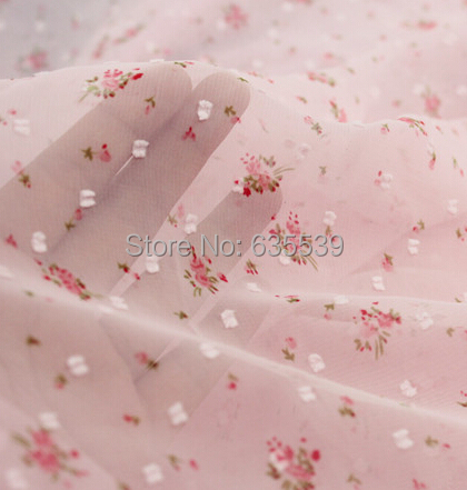 candy floral chiffon summer embroidery fabric for dresses shirt handmade craft garment accessory sheer curtain material(China (Mainland))