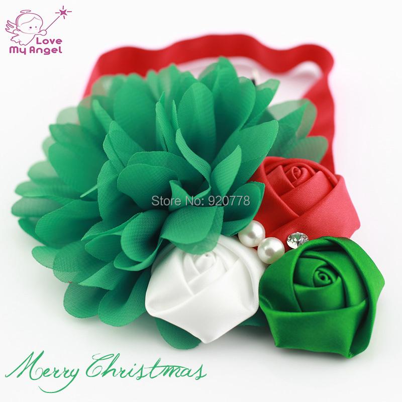 Baby girl christmas headbands chiffon flower headband for newborn kids